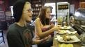 Locals enjoy an afternoon dessert.
